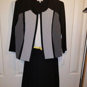 Studio One NY 2 piece dress with jacket, blk/whi
